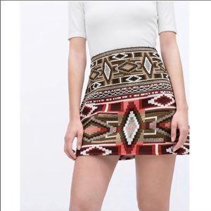 Zara Boho Aztec Print Mini Skirt